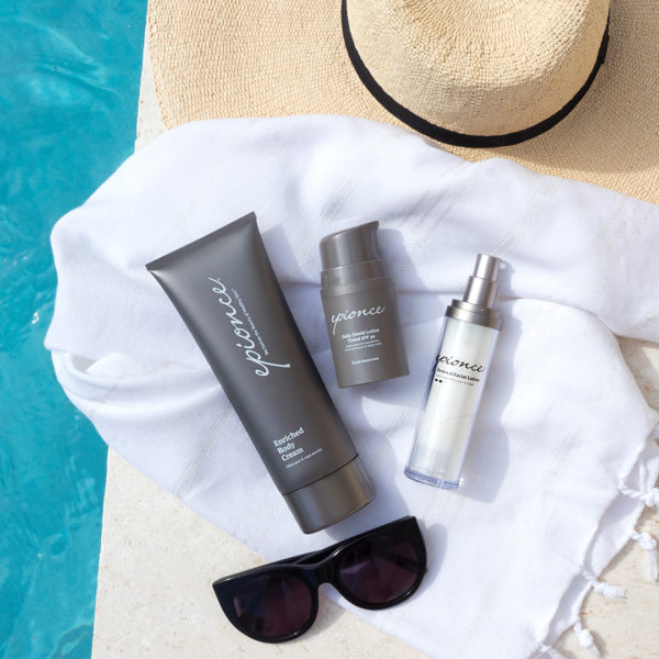 Epionce enriched body lotion, moisturiser and tinted SPF